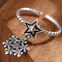 Латунь Манжеты палец кольцо, Звезда, плакированный настоящим серебром, Женский, не содержит свинец и кадмий, 16-18mm, размер:6-8, продается PC