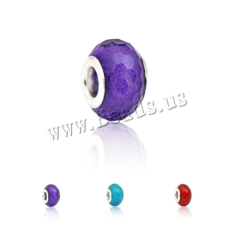 Buy European Crystal Beads Rondelle platinum color plated zinc alloy double core without troll & faceted colors choice nickel lead & cadmium free 9x14mm Hole:Approx 4.5mm 1 Sold Lot