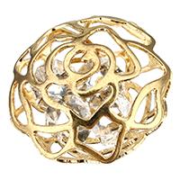 Подвески из кристаллов, цинковый сплав, с Кристаллы, Форма цветка, плакирован золотом, отверстие, не содержит никель, свинец, 18x19mm, отверстие:Приблизительно 3x2mm, 500ПК/Лот, продается Лот