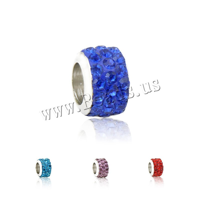 Buy Rhinestone European Beads Zinc Alloy Rhinestone Clay Pave Rondelle platinum color plated zinc alloy single core without troll colors choice nickel lead & cadmium free 7x10mm Hole:Approx 4.5mm 1 Sold Lot