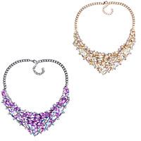 Кристалл ожерелье с цинковым сплавом, цинковый сплав, с Кристаллы, с 2.1lnch наполнитель цепи, Другое покрытие, твист овал & Женский & граненый & со стразами, Много цветов для выбора, не содержит никель, свинец, 60mm, Продан через Приблизительно 18.8 дюймовый Strand