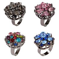 цинковый сплав Открыть палец кольцо, Форма цветка, черный свнец, Женский & со стразами, Много цветов для выбора, не содержит никель, свинец, 25mm, размер:6-9, продается PC