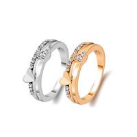Модные кольца, цинковый сплав, Сердце, Другое покрытие, разный размер для выбора & Женский & со стразами, Много цветов для выбора, не содержит никель, свинец, продается PC