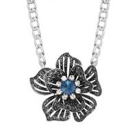 Ожерелье из кристаллов, цинковый сплав, с железный цепи & Кристаллы, Форма цветка, Платиновое покрытие платиновым цвет, Снаряженная цепь & Женский & граненый & со стразами, не содержит свинец и кадмий, 58x58mm, Продан через Приблизительно 19.5 дюймовый Strand