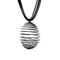 Ожерелье из кристаллов, цинковый сплав, с Вощеная Конопля шнура & Кристаллы, черный свнец, Женский & граненый, не содержит свинец и кадмий, 65x46mm, Продан через Приблизительно 18.5 дюймовый Strand