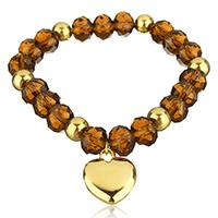 Кристалл браслеты, Кристаллы, с нержавеющая сталь, Сердце, Другое покрытие, браслет-оберег & Женский & граненый, 16x19mm, 8x9mm, Продан через Приблизительно 7 дюймовый Strand