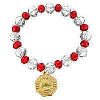 Кристалл браслеты, нержавеющая сталь, с Кристаллы, Kресты, плакирован золотом, браслет-оберег & Женский & граненый, 17x20mm, 10mm, Продан через Приблизительно 6 дюймовый Strand