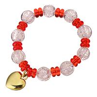Кристалл браслеты, Кристаллы, с нержавеющая сталь, Сердце, плакирован золотом, браслет-оберег & Женский, 16x20mm, 12mm, Продан через Приблизительно 7 дюймовый Strand