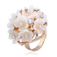 цинковый сплав Открыть палец кольцо, с канифоль, Форма цветка, плакирован золотом, Женский & со стразами, не содержит никель, свинец, 30mm, размер:6-9, продается PC