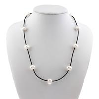 Природное пресноводное жемчужное ожерелье, Пресноводные жемчуги, с пластиковые веревки, натуральный, Женский, класса AAA, 9-10mm, Продан через Приблизительно 19.5 дюймовый Strand