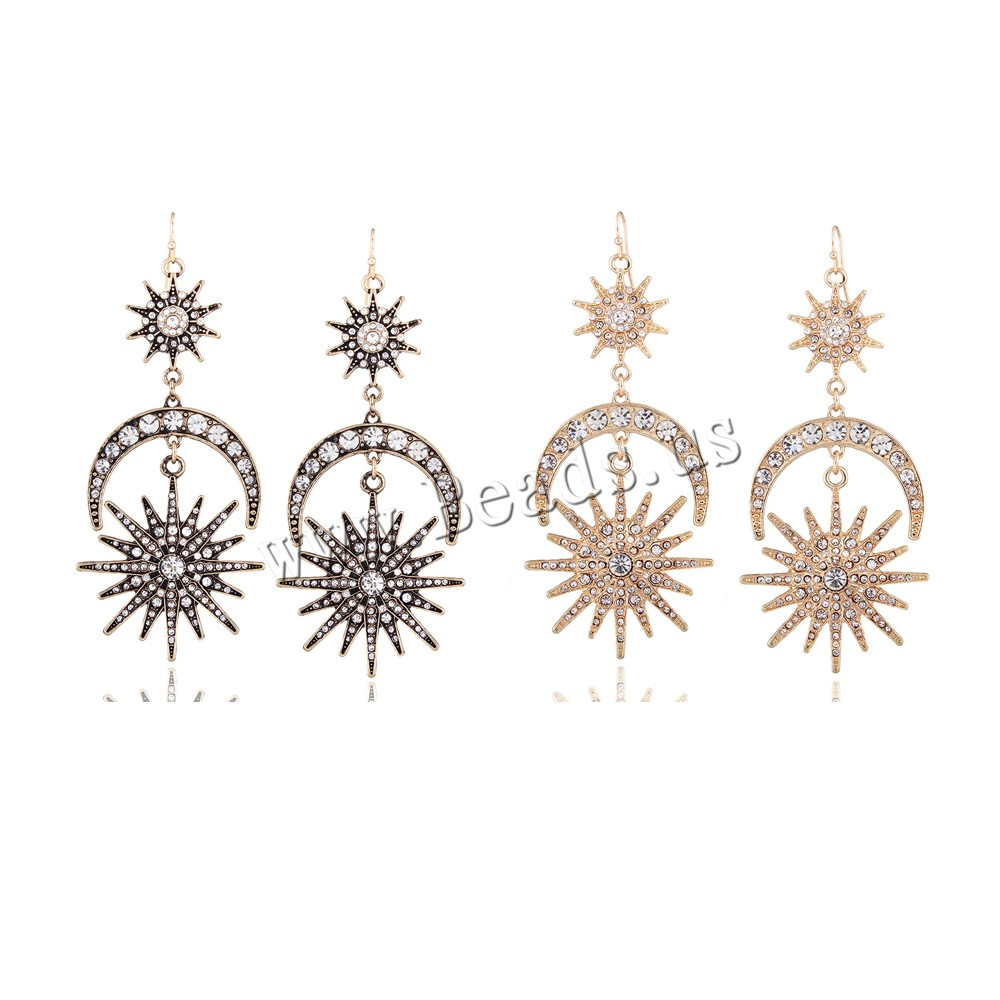 Buy Zinc Alloy Drop Earring iron earring hook Moon Star plated woman colors choice lead & cadmium free 100x45mm Sold Pair