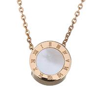 Ожерелье из ракушки, нержавеющая сталь, с Белая ракушка, Плоская круглая форма, плакированный цветом розового золота, Овальный цепь & Женский, 9mm, 1mm, Продан через Приблизительно 15 дюймовый Strand