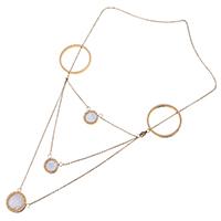 Ожерелье из ракушки, нержавеющая сталь, с Белая ракушка, Плоская круглая форма, плакированный цветом розового золота, Овальный цепь & Женский & двунитевая, 22x20mm, 1mm, Продан через Приблизительно 17 дюймовый Strand
