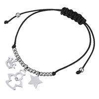 Ожерелья Шамбал, нержавеющая сталь, с Нейлоновый шнурок, браслет-оберег & регулируемый & Женский & со стразами, оригинальный цвет, 15x18mm, 9x8mm, 10x8mm, 1mm, Продан через Приблизительно 10 дюймовый Strand