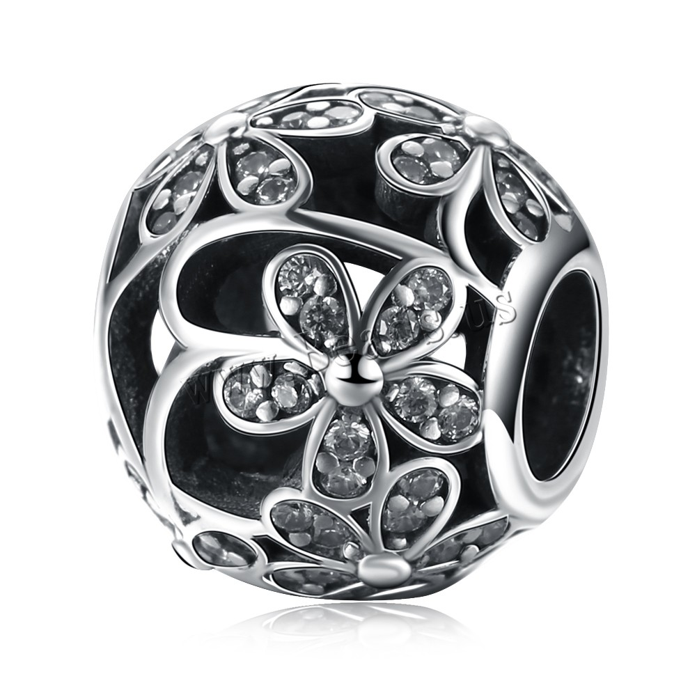 Buy Comeon® Jewelry Beads Thailand Sterling Silver Drum flower pattern & micro pave cubic zirconia & without troll & hollow 10x11mm Hole:Approx 4.5-5mm Sold PC