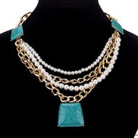 Ожерелья из полимерной смолы, цинковый сплав, с ABS пластик жемчужина & канифоль, с 14cm наполнитель цепи, плакирован золотом, твист овал & Женский, Много цветов для выбора, не содержит свинец и кадмий, 85mm, Продан через Приблизительно 18.5 дюймовый Strand