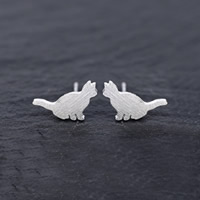 Серьги из серебра, Серебро 925 пробы, с резина earnut, Кошка, Матовый металлический эффект & Женский, 12x8mm, 5Пары/Лот, продается Лот