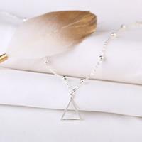 Серебро 925 пробы Браслет для ноги, с 1.3inch наполнитель цепи, Треугольник, Овальный цепь & Женский, 12x15mm, длина:Приблизительно 8.3 дюймовый, 5пряди/Лот, продается Лот