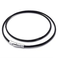 шнур ожерелье, Шнур из натуральной кожи, нержавеющая сталь Замочек 'штык', различной длины для выбора, черный, 3mm, продается Strand