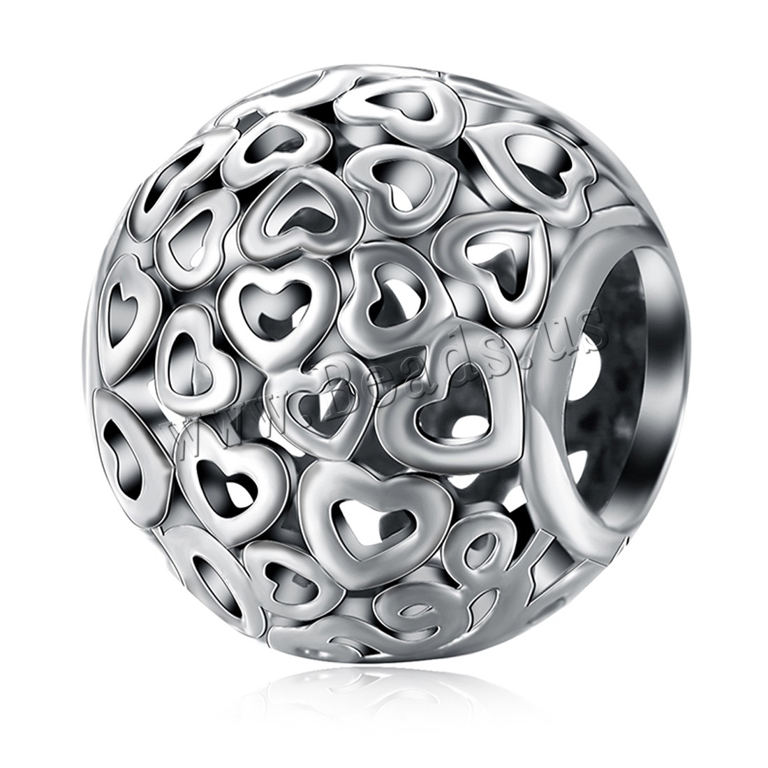 Buy Comeon® Jewelry Beads Thailand Sterling Silver Drum heart pattern & without troll & hollow 9x10mm Hole:Approx 4.5-5mm Sold PC