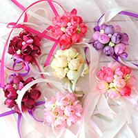 Свадебный браслет, ткань, с Сатиновая лента & Пластиковая жемчужина, Форма цветка, свадебный подарок, Много цветов для выбора, 80mm, продается PC