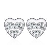 Цирконий Micro Pave стерлингового серебра серьги, Серебро 925 пробы, Сердце, покрытый платиной, инкрустированное микро кубического циркония & Женский, 9x9mm, 5Пары/Лот, продается Лот