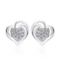 Цирконий Micro Pave стерлингового серебра серьги, Серебро 925 пробы, Сердце, покрытый платиной, инкрустированное микро кубического циркония & Женский & отверстие, 8.5x9mm, 5Пары/Лот, продается Лот