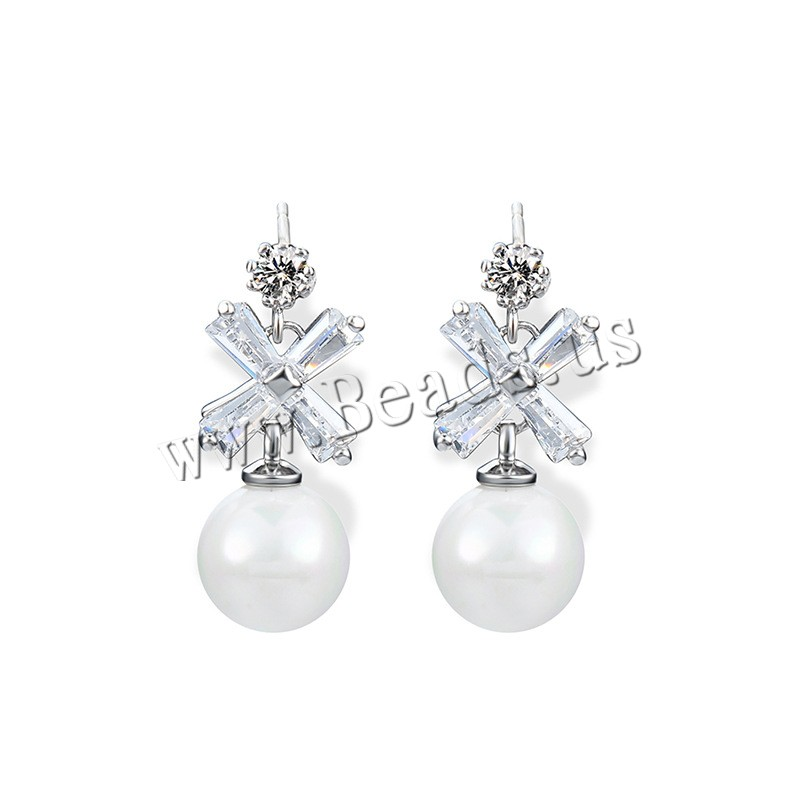 Buy Cubic Zircon (CZ) Drop Earring Brass ABS Plastic Pearl & plastic earnut & Cubic Zirconia stainless steel post pin platinum color plated woman & faceted nickel lead & cadmium free 10x25mm Sold Pair