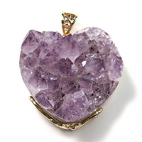 Аметист подвеска, с Латунь, Сердце, плакирован золотом, Камень февраля & природный & druzy стиль, 32x33x18mm, отверстие:Приблизительно 4x6mm, 3ПК/Лот, продается Лот