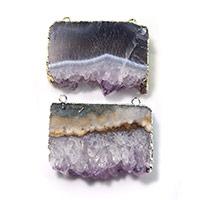 Аметист подвеска, с Латунь, Другое покрытие, Камень февраля & природный & druzy стиль & разнообразный & двойное отверстие, 41-42x33-35x8-9mm, отверстие:Приблизительно 2mm, 3ПК/Лот, продается Лот