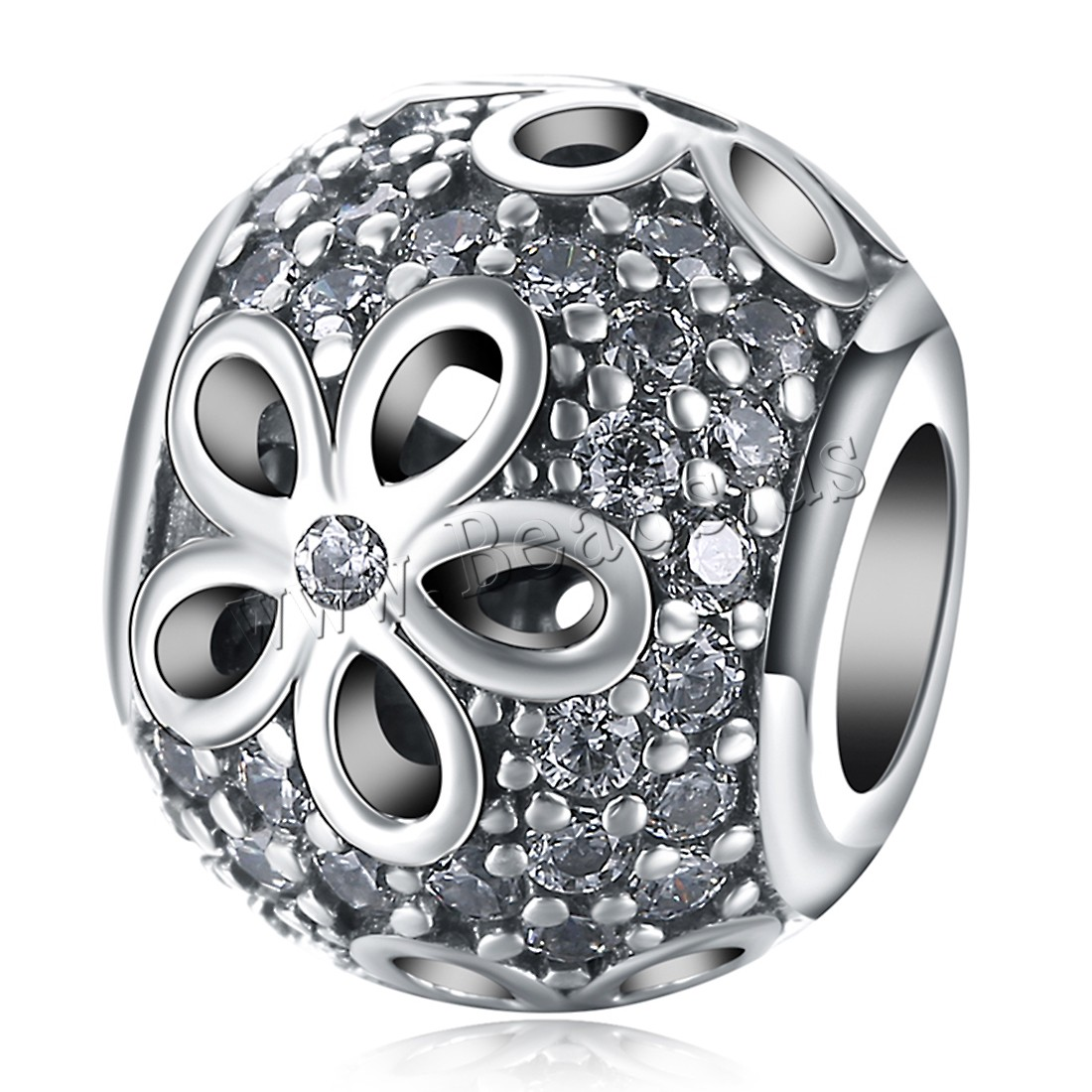 Buy Comeon® Jewelry Beads Thailand Sterling Silver Drum flower pattern & micro pave cubic zirconia & without troll & hollow 9x12mm Hole:Approx 4.5-5mm Sold PC