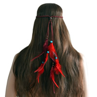 заставка, шерстяной шнур, с перья & деревянный, Форма пера, разные стили для выбора & Женский, Продан через Приблизительно 23.6 дюймовый Strand