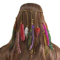 заставка, шерстяной шнур, с перья & деревянный, Эластичное & Женский, 212mm, Продан через Приблизительно 8.7 дюймовый Strand