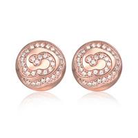 Титан Сталь серьги, титан, Плоская круглая форма, плакированный цветом розового золота, Женский & со стразами, 12x12mm, продается Пара