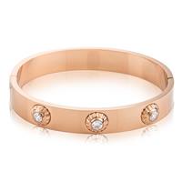Титана стальной браслет, титан, плакированный цветом розового золота, Женский & со стразами, 12mm, внутренний диаметр:Приблизительно 60mm, продается PC