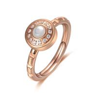 кольцо из ракушки, титан, с Белая ракушка, Плоская круглая форма, плакированный цветом розового золота, Женский & со стразами, 10x3x10mm, 1.5mm, размер:6.5, продается PC