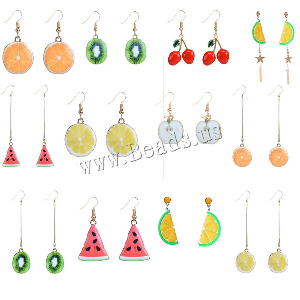 Buy Zinc Alloy Drop Earring iron earring hook plated different styles choice & enamel & decal colors choice lead & cadmium free 60-85mm Sold Pair