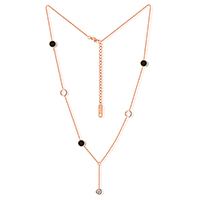 Ожерелье из ракушки, Нержавеющая сталь 316, с Черная ракушка, с 2.5Inch наполнитель цепи, Плоская круглая форма, плакированный цветом розового золота, Овальный цепь & Женский & с кубическим цирконием, 5.5mm,6mm,25mm, Продан через Приблизительно 16 дюймовый Strand