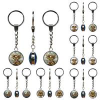 цинковый сплав цепочка для ключей, с Стеклянный, Плоская круглая форма, Платиновое покрытие платиновым цвет, ювелирные изделия драгоценный камень раз & Мужская & различные модели для выбора & Термоаппликации, не содержит свинец и кадмий, 25mm, 3пряди/сумка, продается сумка