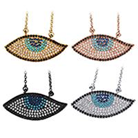 Кубический циркон микро проложить латуни ожерелье, Латунь, с 2Inch наполнитель цепи, Глаз, Другое покрытие, Овальный цепь & инкрустированное микро кубического циркония & Женский, Много цветов для выбора, 30.5x14.5mm, 1.5mm, длина:Приблизительно 18 дюймовый, 10пряди/Лот, продается Лот