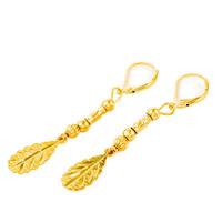 Латунь Leverback Серьга, Листок, плакированный настоящим золотом, цветочный отрез, не содержит свинец и кадмий, 60mm, продается Пара