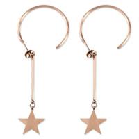 титан Сережка, Звезда, плакированный цветом розового золота, Женский, 17x2mm, 31mm, 32mm, 3Пары/Лот, продается Лот