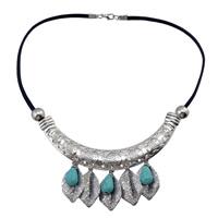 Ожерелья из бирюзы, цинковый сплав, с Искусственная кожа & Синтетическая бирюза, плакированный цветом под старое серебро, Женский, не содержит никель, свинец, 33mm, Продан через 18.1 дюймовый Strand