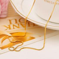 Цепочки из латуни, Латунь, Позолоченные 24k, Цепной ящик & Женский, не содержит никель, свинец, 1mm, Продан через Приблизительно 18.5 дюймовый Strand