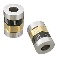 Европейские стильные бусины из нержавеющей стали, Нержавеющая сталь 304, Столбик, Другое покрытие, с римская цифра, 11x15x11mm, отверстие:Приблизительно 5mm, продается PC