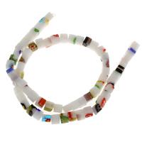 Бисер, выполненный в технике миллефиори, Стекло Шеврон, Квадратная форма, Связанный вручную, 5.5mm, отверстие:Приблизительно 1mm, Приблизительно 65ПК/Strand, Продан через Приблизительно 14.5 дюймовый Strand