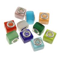 Бусины лэмпворк (стиль Европейская стиль), Лэмпворк, Квадратная форма, Связанный вручную, латунные Двухместный ядро без Тролль, разноцветный, 12.50x12.50x11mm, отверстие:Приблизительно 5mm, продается PC