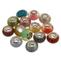 Бусины лэмпворк (стиль Европейская стиль), Лэмпворк, Плоская овальная форма, латунные Двухместный ядро без Тролль, разноцветный, 14.5x9mm, отверстие:Приблизительно 5mm, продается PC
