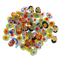 Бисер, выполненный в технике миллефиори, Стекло Шеврон, Связанный вручную, разноцветный, 6x8x2.50mm, отверстие:Приблизительно 2mm, продается PC