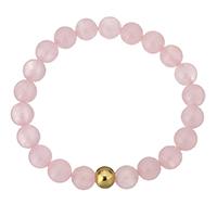 розовый кварц браслет, с нержавеющая сталь, Круглая, плакирован золотом, Женский, 9mm, 8mm, Продан через Приблизительно 7 дюймовый Strand